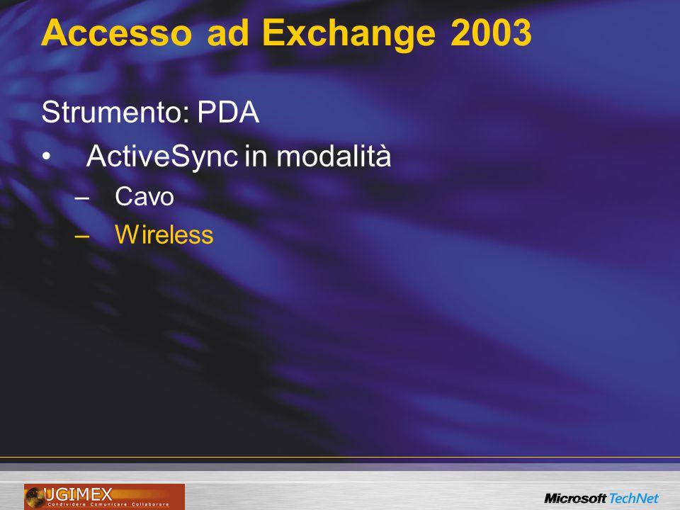 Accesso ad Exchange 2003 Strumento: PDA ActiveSync in modalità –Cavo –Wireless