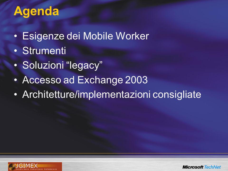 Agenda Esigenze dei Mobile Worker Strumenti Soluzioni legacy Accesso ad Exchange 2003 Architetture/implementazioni consigliate