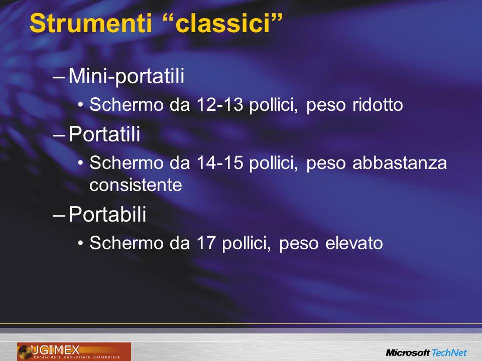 """Strumenti """"classici"""" –Mini-portatili Schermo da 12-13 pollici, peso ridotto –Portatili Schermo da 14-15 pollici, peso abbastanza consistente –Portabil"""