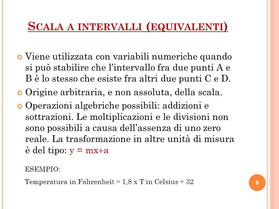 S CALA A INTERVALLI ( EQUIVALENTI ) Viene utilizzata con variabili numeriche quando si può stabilire che l'intervallo fra due punti A e B è lo stesso che esiste fra altri due punti C e D.