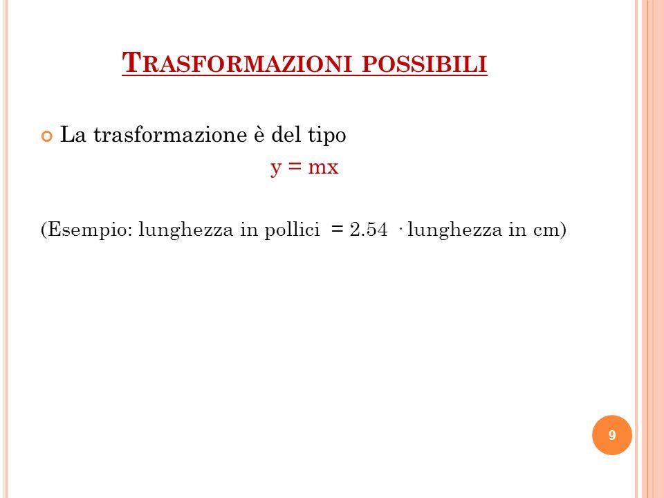 SCALAESEMPIOPROPRIETA POSSIBILI TRASFORMAZIONI NominaleGenerem <> fm = 1; f = 2 Ordinale Grado di preferenza 1<2<3<4<5<6(1;2;3)= 1; (4;5;6)= 2 IntervalliTemperatura(4 - 3) = (9 - 8)Y = mX + a RapportiLunghezza Pur svolgendo operazioni algebriche il rapporto non cambia Y = mX 10