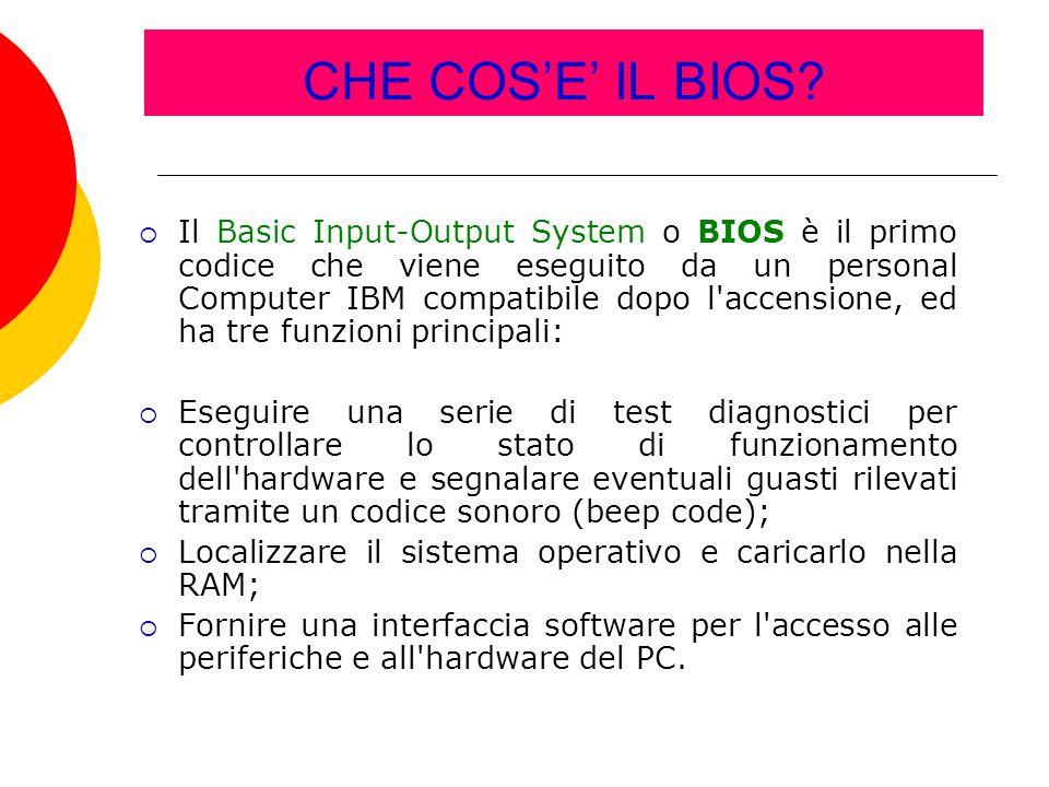 CHE COS'E' IL BIOS?  Il Basic Input-Output System o BIOS è il primo codice che viene eseguito da un personal Computer IBM compatibile dopo l'accensio