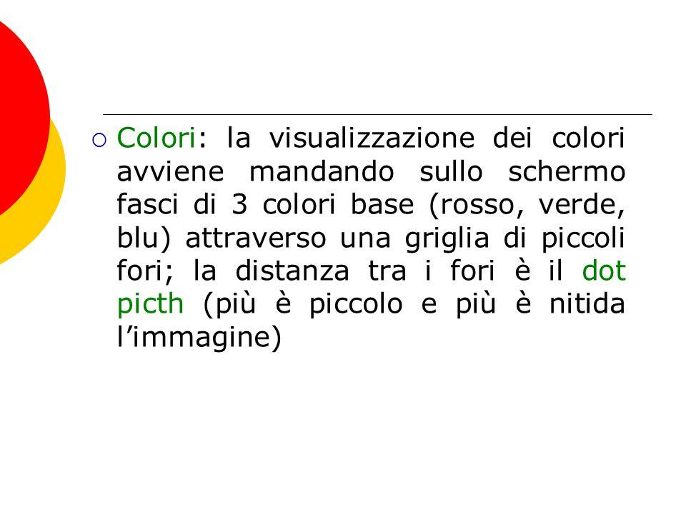 Colori: la visualizzazione dei colori avviene mandando sullo schermo fasci di 3 colori base (rosso, verde, blu) attraverso una griglia di piccoli fo