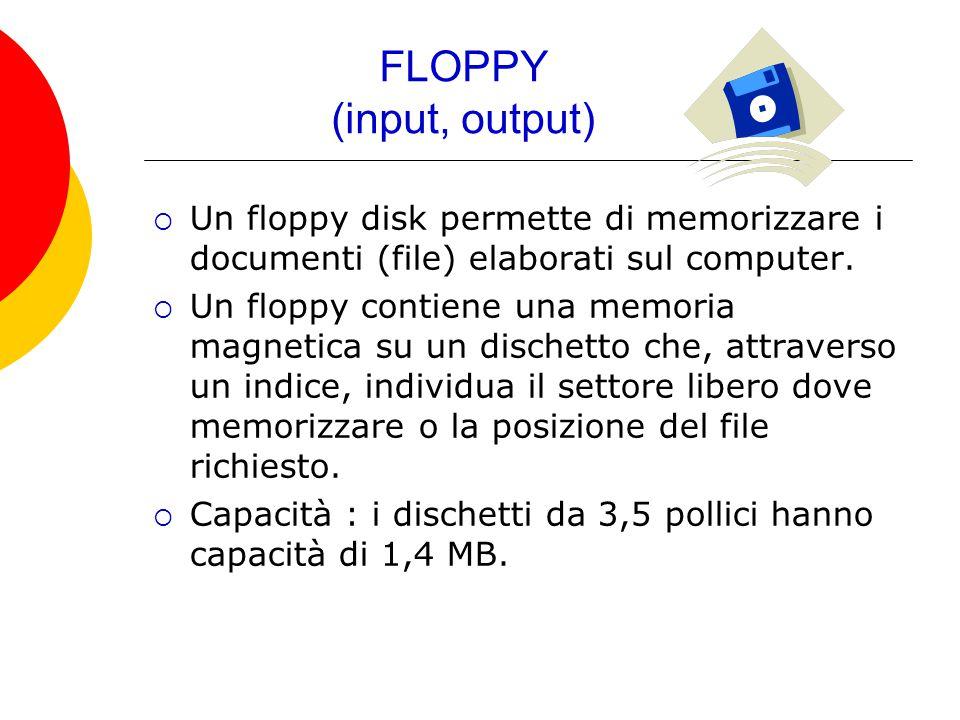 FLOPPY (input, output)  Un floppy disk permette di memorizzare i documenti (file) elaborati sul computer.  Un floppy contiene una memoria magnetica