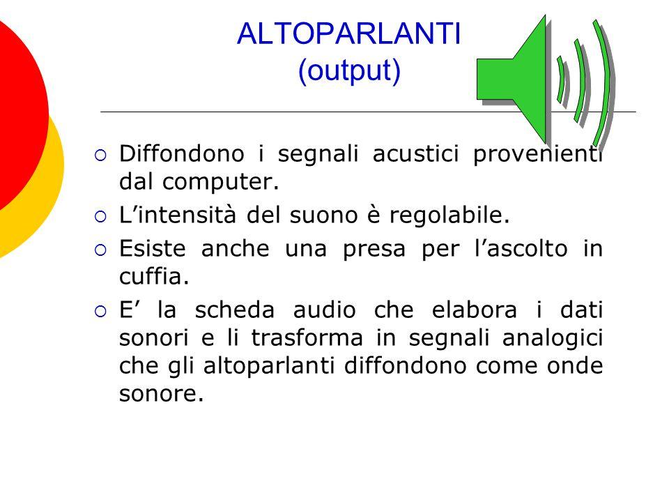 ALTOPARLANTI (output)  Diffondono i segnali acustici provenienti dal computer.  L'intensità del suono è regolabile.  Esiste anche una presa per l'a