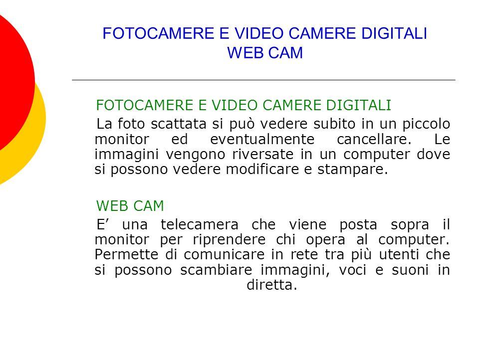 FOTOCAMERE E VIDEO CAMERE DIGITALI WEB CAM FOTOCAMERE E VIDEO CAMERE DIGITALI La foto scattata si può vedere subito in un piccolo monitor ed eventualm