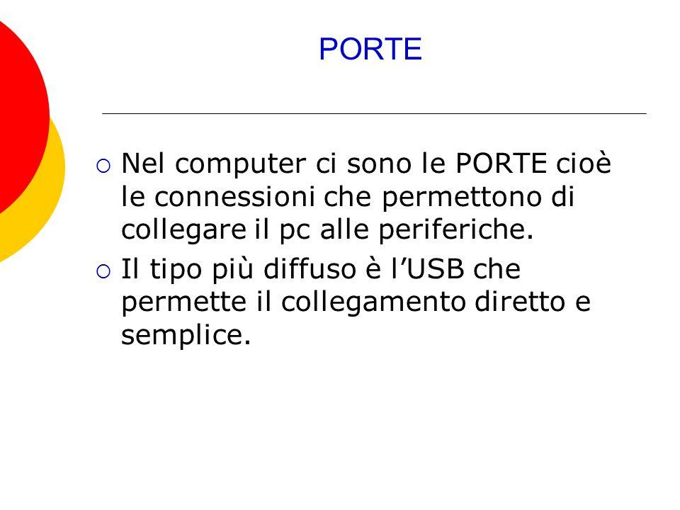 PORTE  Nel computer ci sono le PORTE cioè le connessioni che permettono di collegare il pc alle periferiche.  Il tipo più diffuso è l'USB che permet