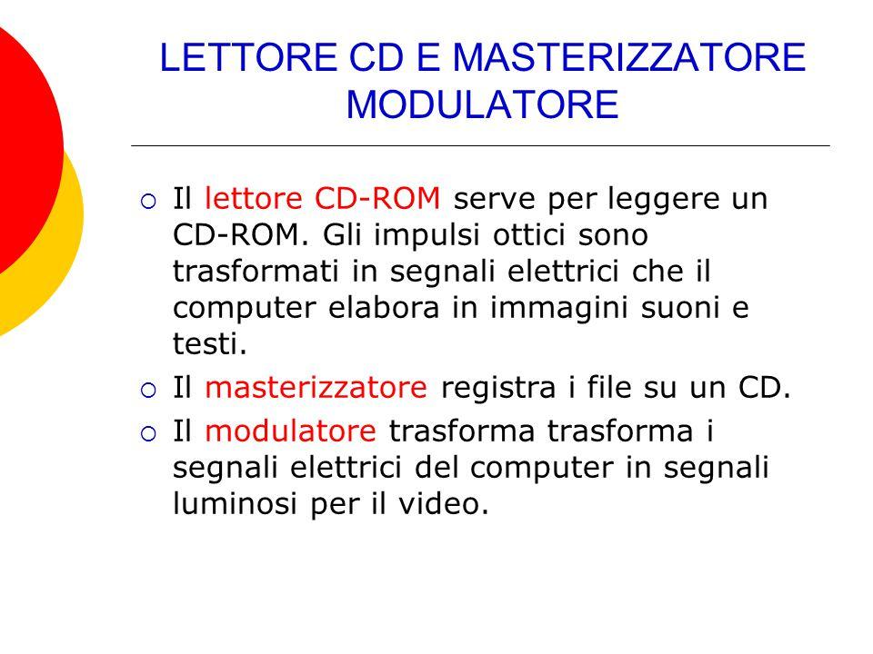 LETTORE CD E MASTERIZZATORE MODULATORE  Il lettore CD-ROM serve per leggere un CD-ROM. Gli impulsi ottici sono trasformati in segnali elettrici che i