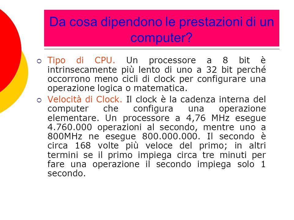 Da cosa dipendono le prestazioni di un computer?  Tipo di CPU. Un processore a 8 bit è intrinsecamente più lento di uno a 32 bit perché occorrono men