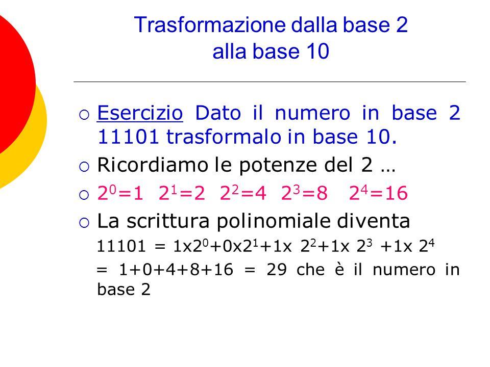 Trasformazione dalla base 2 alla base 10  Esercizio Dato il numero in base 2 11101 trasformalo in base 10.  Ricordiamo le potenze del 2 …  2 0 =1 2