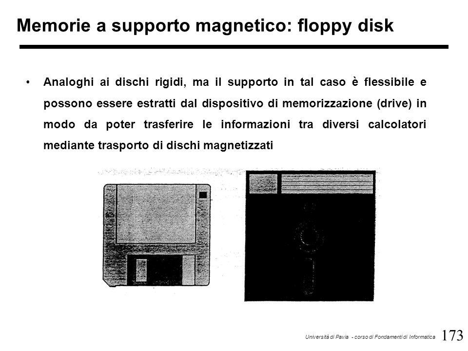 173 Università di Pavia - corso di Fondamenti di Informatica Memorie a supporto magnetico: floppy disk Analoghi ai dischi rigidi, ma il supporto in tal caso è flessibile e possono essere estratti dal dispositivo di memorizzazione (drive) in modo da poter trasferire le informazioni tra diversi calcolatori mediante trasporto di dischi magnetizzati