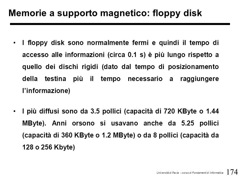174 Università di Pavia - corso di Fondamenti di Informatica Memorie a supporto magnetico: floppy disk I floppy disk sono normalmente fermi e quindi il tempo di accesso alle informazioni (circa 0.1 s) è più lungo rispetto a quello dei dischi rigidi (dato dal tempo di posizionamento della testina più il tempo necessario a raggiungere l'informazione) I più diffusi sono da 3.5 pollici (capacità di 720 KByte o 1.44 MByte).