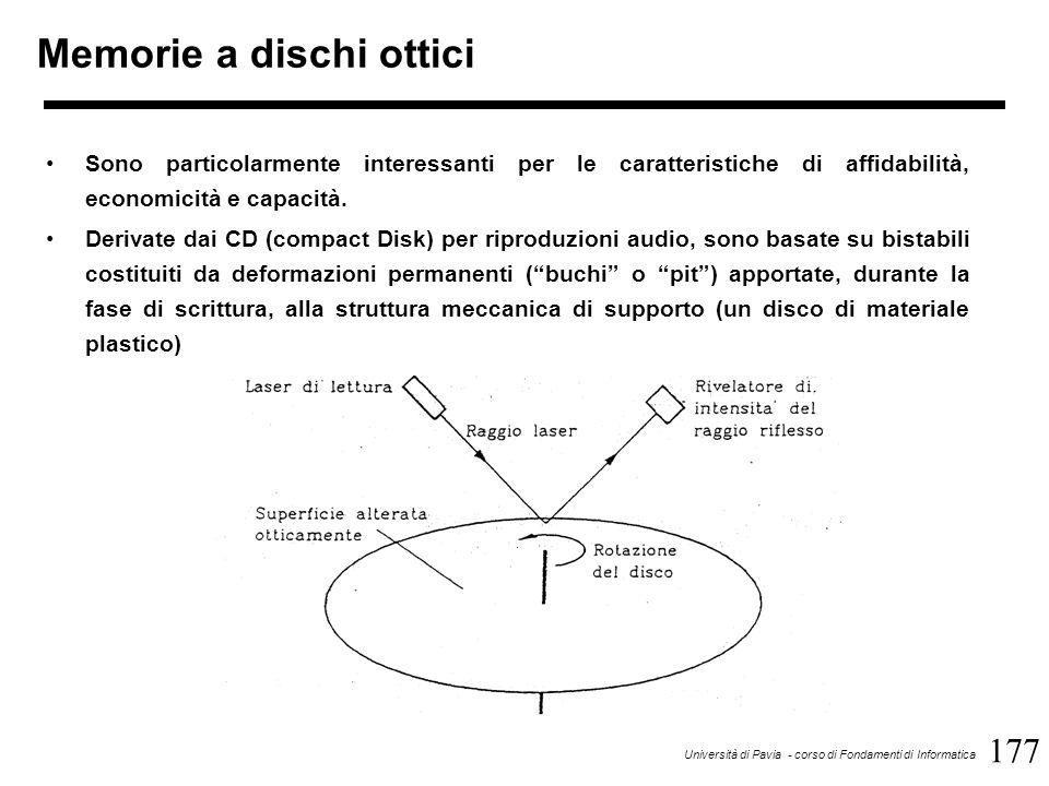 177 Università di Pavia - corso di Fondamenti di Informatica Memorie a dischi ottici Sono particolarmente interessanti per le caratteristiche di affidabilità, economicità e capacità.