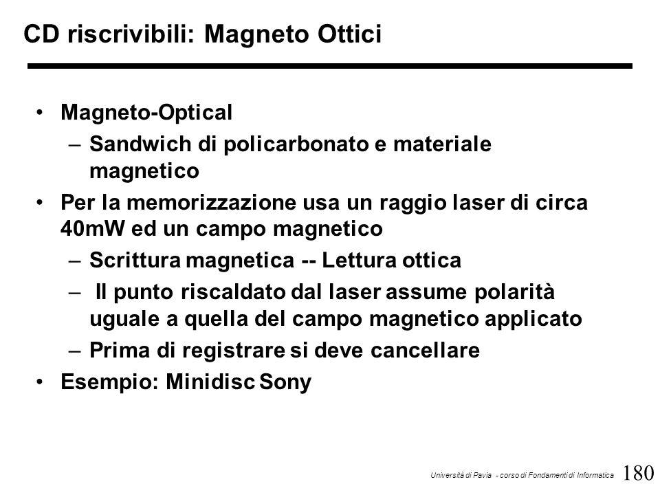 180 Università di Pavia - corso di Fondamenti di Informatica CD riscrivibili: Magneto Ottici Magneto-Optical –Sandwich di policarbonato e materiale magnetico Per la memorizzazione usa un raggio laser di circa 40mW ed un campo magnetico –Scrittura magnetica -- Lettura ottica – Il punto riscaldato dal laser assume polarità uguale a quella del campo magnetico applicato –Prima di registrare si deve cancellare Esempio: Minidisc Sony