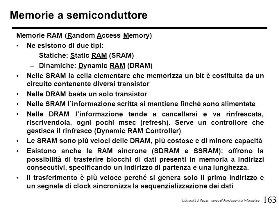 163 Università di Pavia - corso di Fondamenti di Informatica Memorie a semiconduttore Memorie RAM (Random Access Memory) Ne esistono di due tipi: –Statiche: Static RAM (SRAM) –Dinamiche: Dynamic RAM (DRAM) Nelle SRAM la cella elementare che memorizza un bit è costituita da un circuito contenente diversi transistor Nelle DRAM basta un solo transistor Nelle SRAM l'informazione scritta si mantiene finché sono alimentate Nelle DRAM l'informazione tende a cancellarsi e va rinfrescata, riscrivendola, ogni pochi msec (refresh).