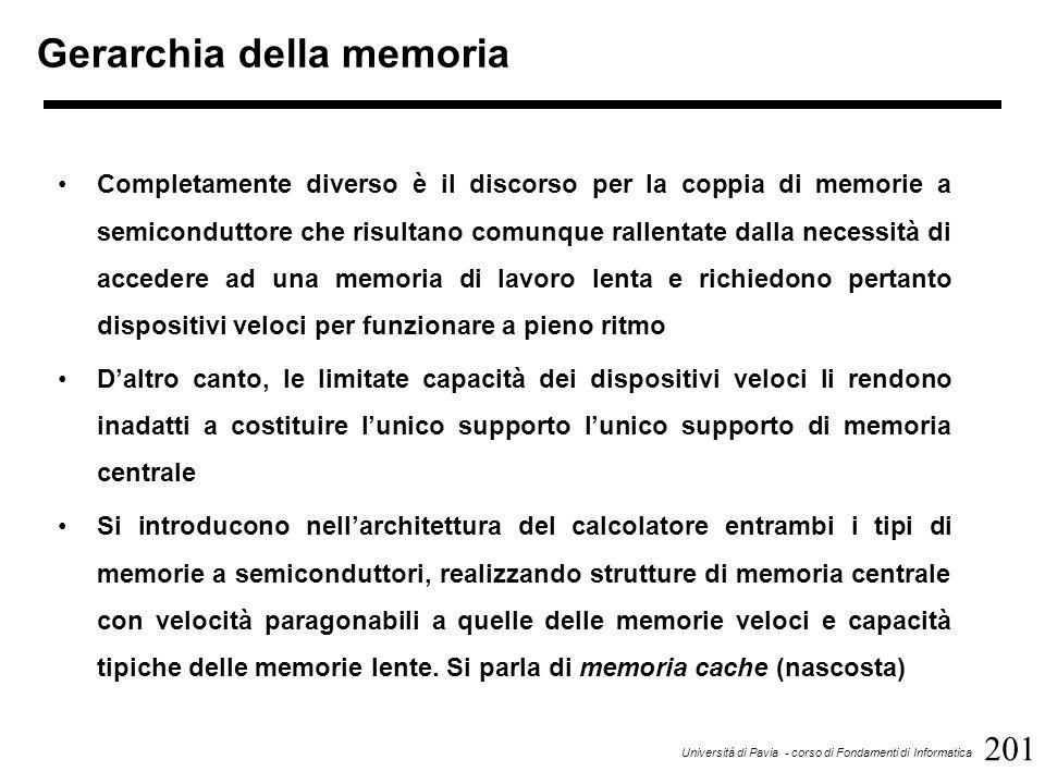 201 Università di Pavia - corso di Fondamenti di Informatica Gerarchia della memoria Completamente diverso è il discorso per la coppia di memorie a semiconduttore che risultano comunque rallentate dalla necessità di accedere ad una memoria di lavoro lenta e richiedono pertanto dispositivi veloci per funzionare a pieno ritmo D'altro canto, le limitate capacità dei dispositivi veloci li rendono inadatti a costituire l'unico supporto l'unico supporto di memoria centrale Si introducono nell'architettura del calcolatore entrambi i tipi di memorie a semiconduttori, realizzando strutture di memoria centrale con velocità paragonabili a quelle delle memorie veloci e capacità tipiche delle memorie lente.