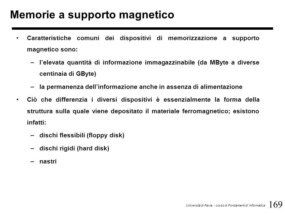 169 Università di Pavia - corso di Fondamenti di Informatica Memorie a supporto magnetico Caratteristiche comuni dei dispositivi di memorizzazione a supporto magnetico sono: –l'elevata quantità di informazione immagazzinabile (da MByte a diverse centinaia di GByte) –la permanenza dell'informazione anche in assenza di alimentazione Ciò che differenzia i diversi dispositivi è essenzialmente la forma della struttura sulla quale viene depositato il materiale ferromagnetico; esistono infatti: –dischi flessibili (floppy disk) –dischi rigidi (hard disk) –nastri