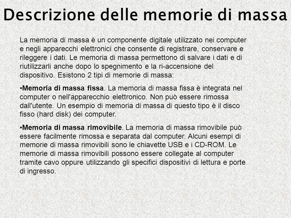 Descrizione delle memorie di massa La memoria di massa è un componente digitale utilizzato nei computer e negli apparecchi elettronici che consente di