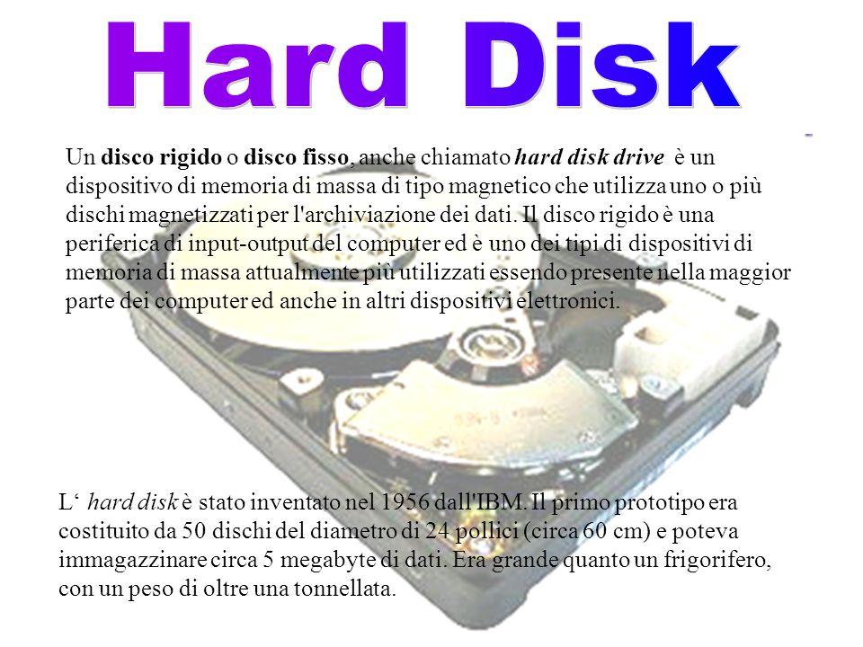 Un disco rigido o disco fisso, anche chiamato hard disk drive è un dispositivo di memoria di massa di tipo magnetico che utilizza uno o più dischi mag