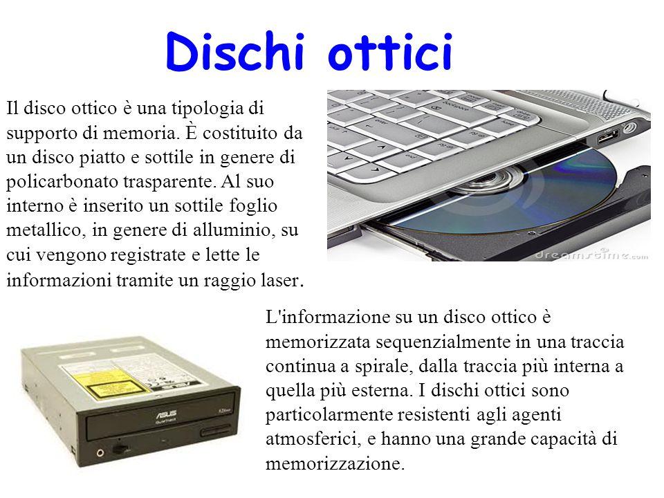 Dischi ottici Il disco ottico è una tipologia di supporto di memoria. È costituito da un disco piatto e sottile in genere di policarbonato trasparente