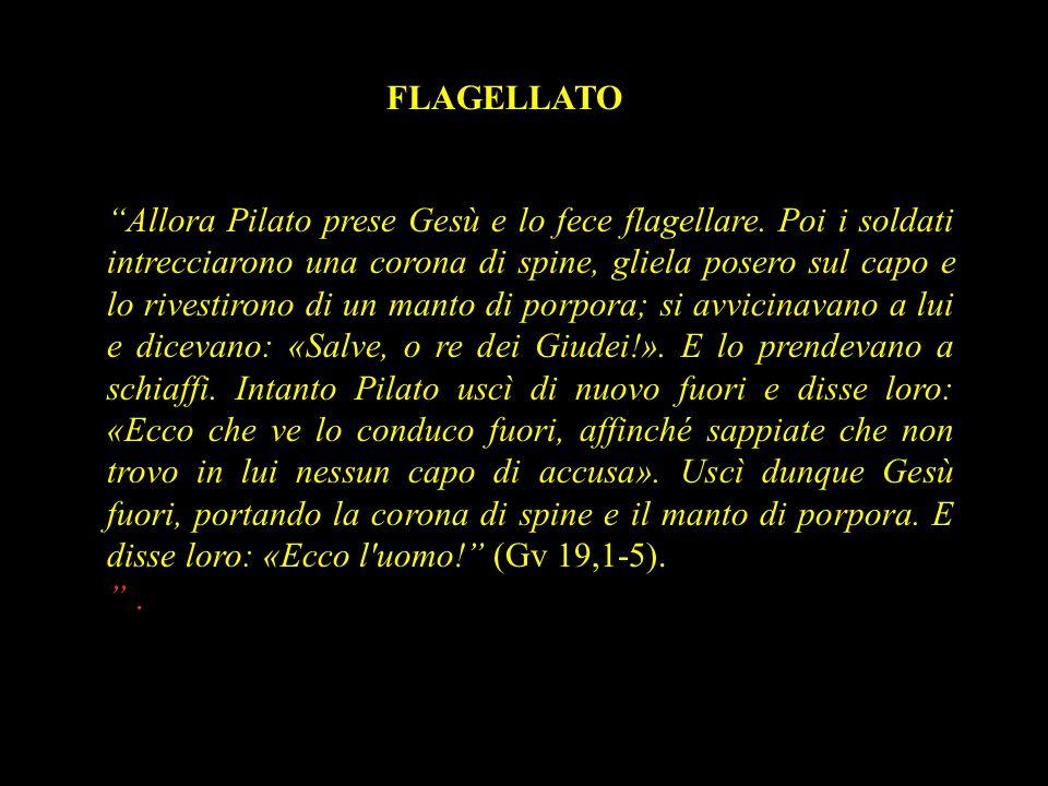 """""""Allora Pilato prese Gesù e lo fece flagellare. Poi i soldati intrecciarono una corona di spine, gliela posero sul capo e lo rivestirono di un manto d"""