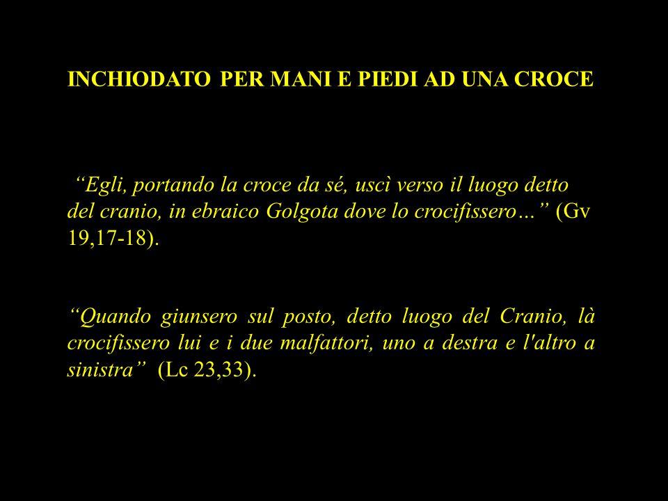 """INCHIODATO PER MANI E PIEDI AD UNA CROCE """"Egli, portando la croce da sé, uscì verso il luogo detto del cranio, in ebraico Golgota dove lo crocifissero"""