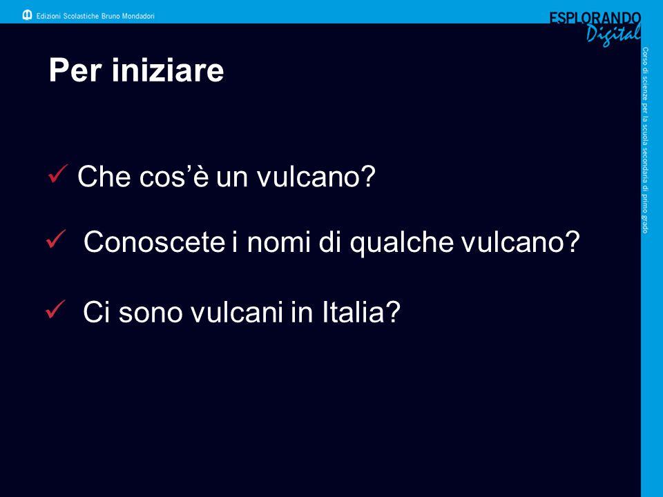 Per iniziare Conoscete i nomi di qualche vulcano? Ci sono vulcani in Italia? Che cos'è un vulcano?