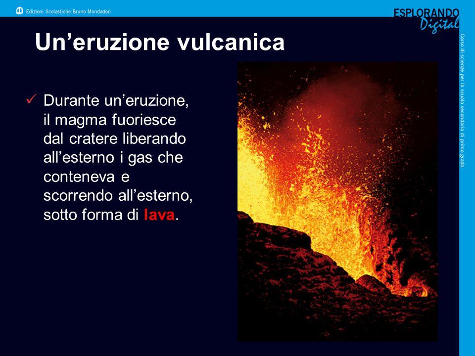 Un'eruzione vulcanica Durante un'eruzione, il magma fuoriesce dal cratere liberando all'esterno i gas che conteneva e scorrendo all'esterno, sotto for