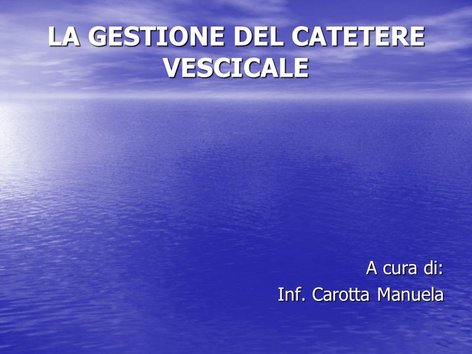 IL CATETERISMO VESCICALE Il Cateterismo vescicale è l'introduzione, con posizionamento provvisorio o permanente, di un catetere sterile, in vescica per via transuretrale o sovrapubica a scopo: diagnostico diagnostico terapeutico terapeutico evacuativo evacuativo