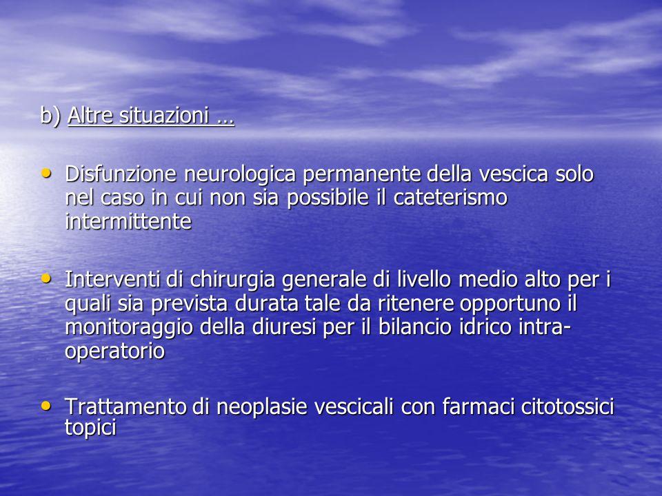 b) Altre situazioni … Disfunzione neurologica permanente della vescica solo nel caso in cui non sia possibile il cateterismo intermittente Disfunzione