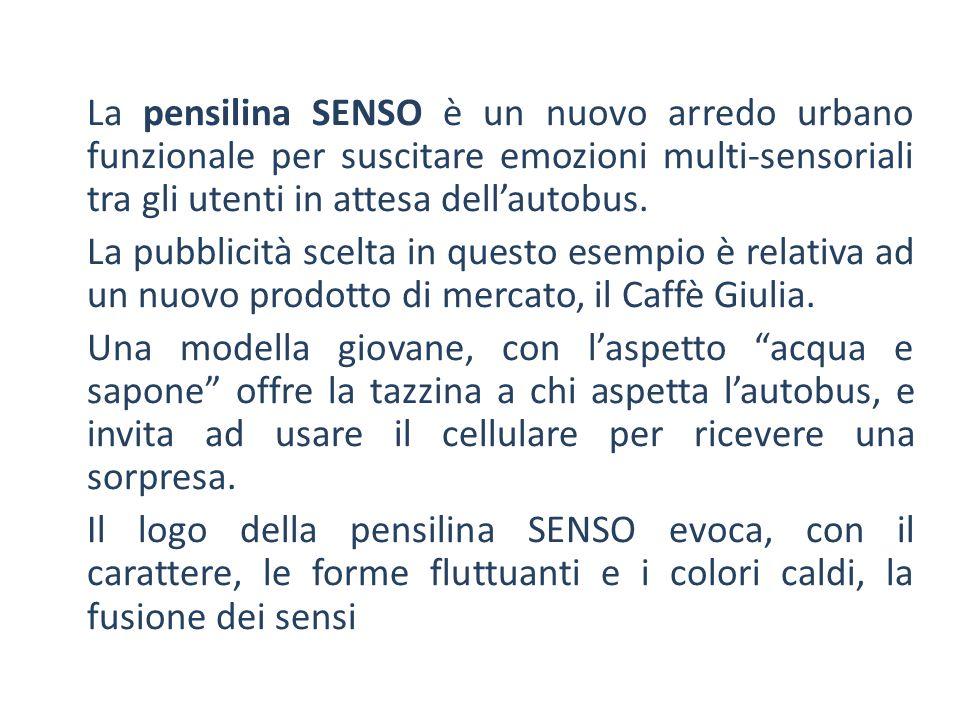 La pensilina SENSO è un nuovo arredo urbano funzionale per suscitare emozioni multi-sensoriali tra gli utenti in attesa dell'autobus. La pubblicità sc
