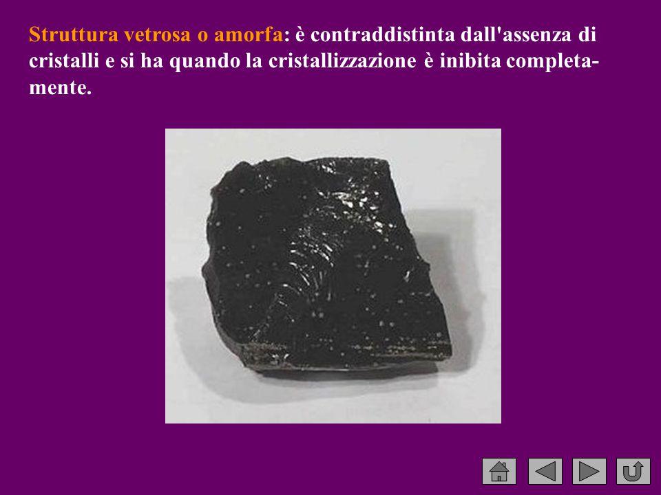 Struttura vetrosa o amorfa: è contraddistinta dall assenza di cristalli e si ha quando la cristallizzazione è inibita completa- mente.