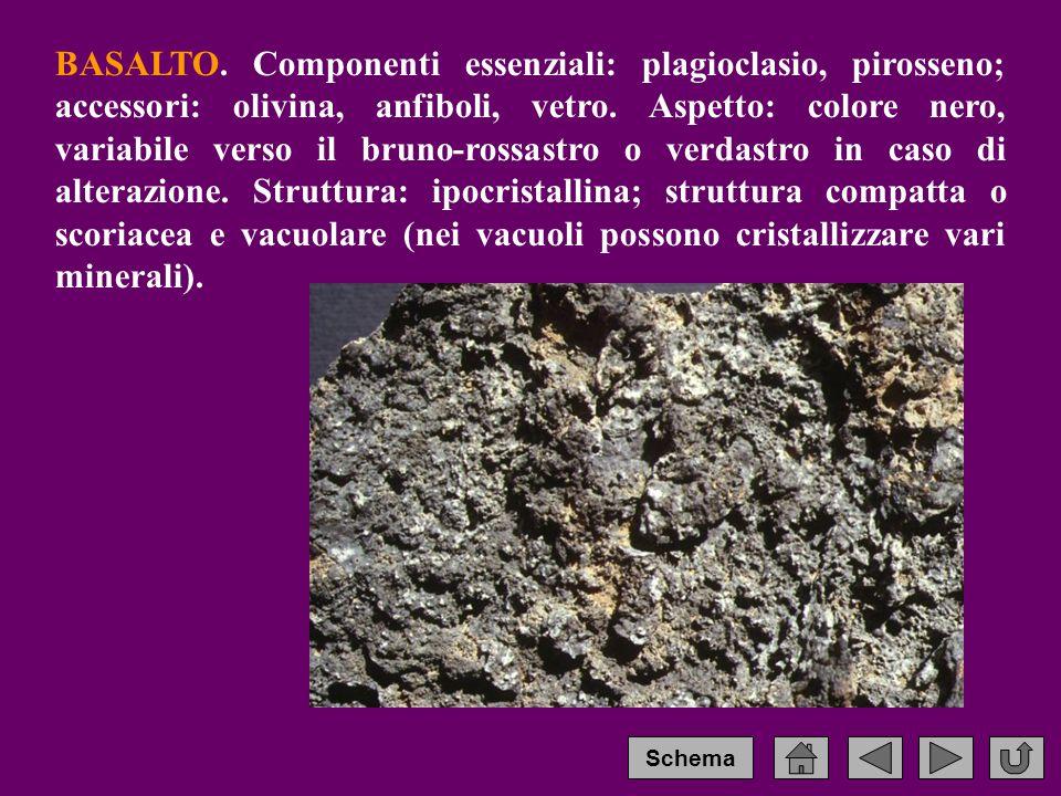 BASALTO.Componenti essenziali: plagioclasio, pirosseno; accessori: olivina, anfiboli, vetro.
