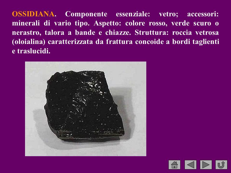 OSSIDIANA.Componente essenziale: vetro; accessori: minerali di vario tipo.