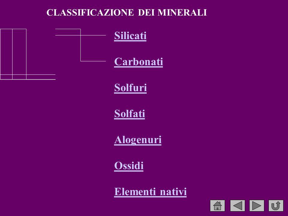 CLASSIFICAZIONE DEI MINERALI Silicati Carbonati Solfuri Solfati Alogenuri Ossidi Elementi nativi