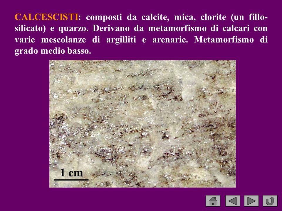 CALCESCISTI: composti da calcite, mica, clorite (un fillo- silicato) e quarzo.