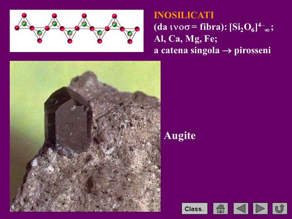 INOSILICATI (da  = fibra): [Si 2 O 6 ] 4–  ; Al, Ca, Mg, Fe; a catena singola  pirosseni Augite Class.