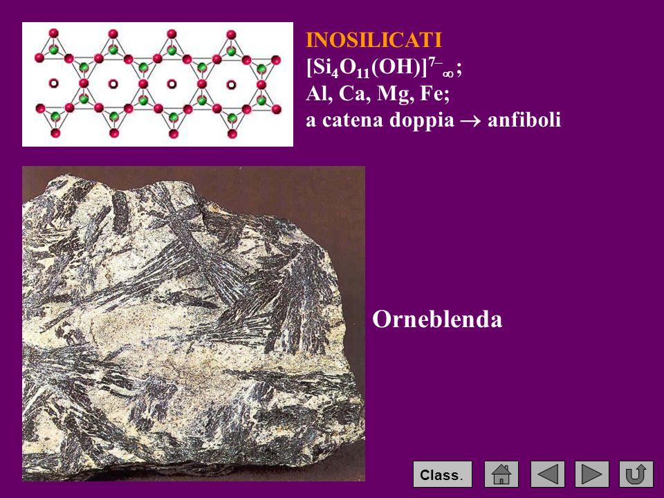 INOSILICATI [Si 4 O 11 (OH)] 7–  ; Al, Ca, Mg, Fe; a catena doppia  anfiboli Orneblenda Class.