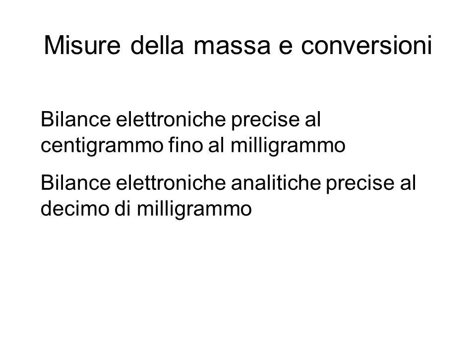 Misure della massa e conversioni Bilance elettroniche precise al centigrammo fino al milligrammo Bilance elettroniche analitiche precise al decimo di