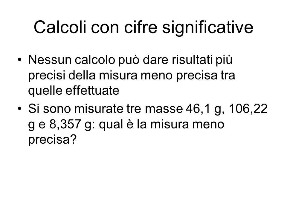 Calcoli con cifre significative Nessun calcolo può dare risultati più precisi della misura meno precisa tra quelle effettuate Si sono misurate tre mas