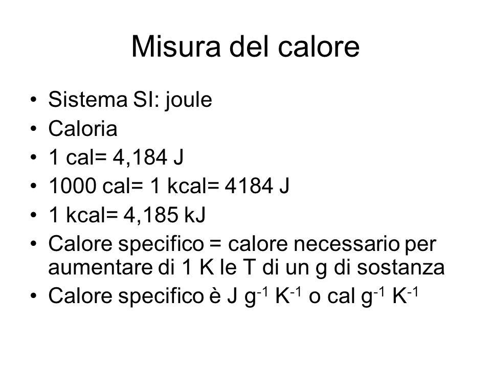 Misura del calore Sistema SI: joule Caloria 1 cal= 4,184 J 1000 cal= 1 kcal= 4184 J 1 kcal= 4,185 kJ Calore specifico = calore necessario per aumentar