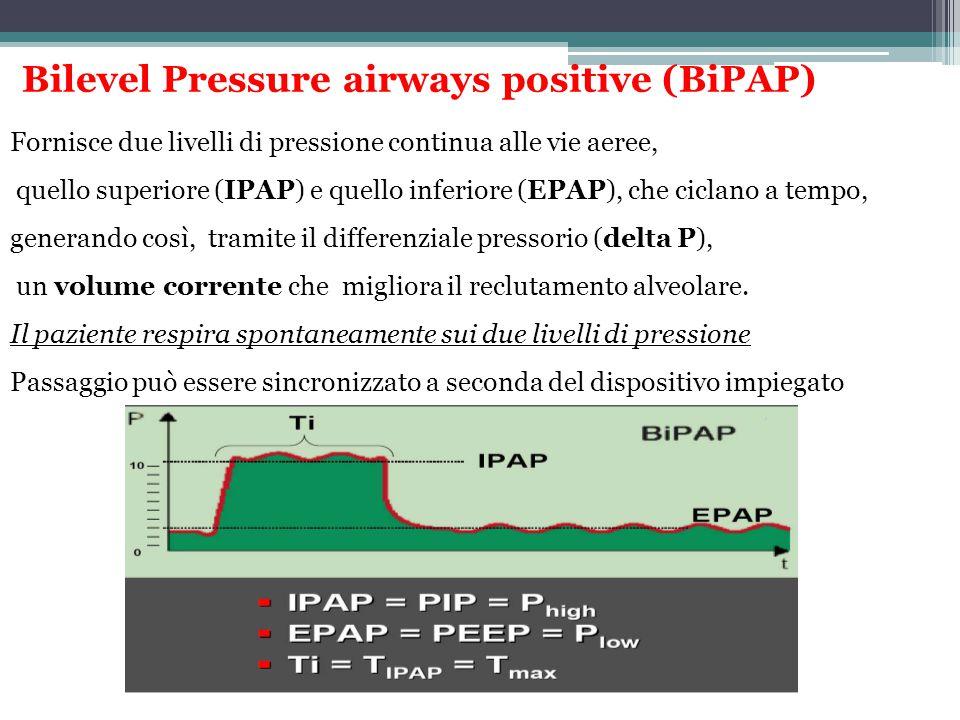 Bilevel Pressure airways positive (BiPAP) Fornisce due livelli di pressione continua alle vie aeree, quello superiore (IPAP) e quello inferiore (EPAP)