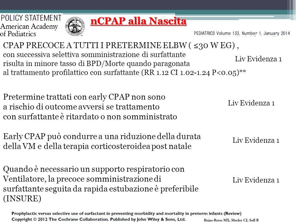 nCPAP alla Nascita CPAP PRECOCE A TUTTI I PRETERMINE ELBW ( ≤30 W EG), con successiva selettiva somministrazione di surfattante risulta in minore tass