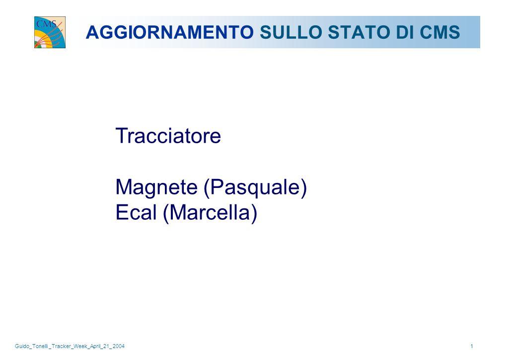 Guido_Tonelli _Tracker_Week_April_21_ 20041 AGGIORNAMENTO SULLO STATO DI CMS Tracciatore Magnete (Pasquale) Ecal (Marcella)