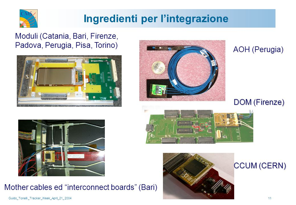 Guido_Tonelli _Tracker_Week_April_21_ 200411 Ingredienti per l'integrazione Moduli (Catania, Bari, Firenze, Padova, Perugia, Pisa, Torino) Mother cables ed interconnect boards (Bari) CCUM (CERN) AOH (Perugia) DOM (Firenze)