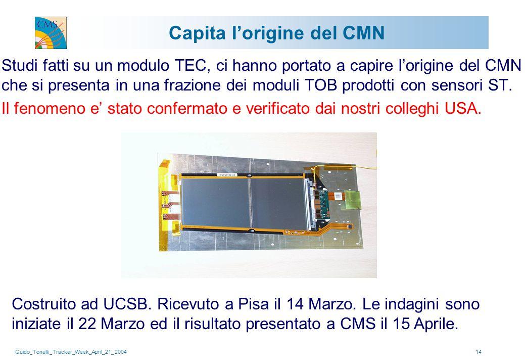 Guido_Tonelli _Tracker_Week_April_21_ 200414 Capita l'origine del CMN Studi fatti su un modulo TEC, ci hanno portato a capire l'origine del CMN che si