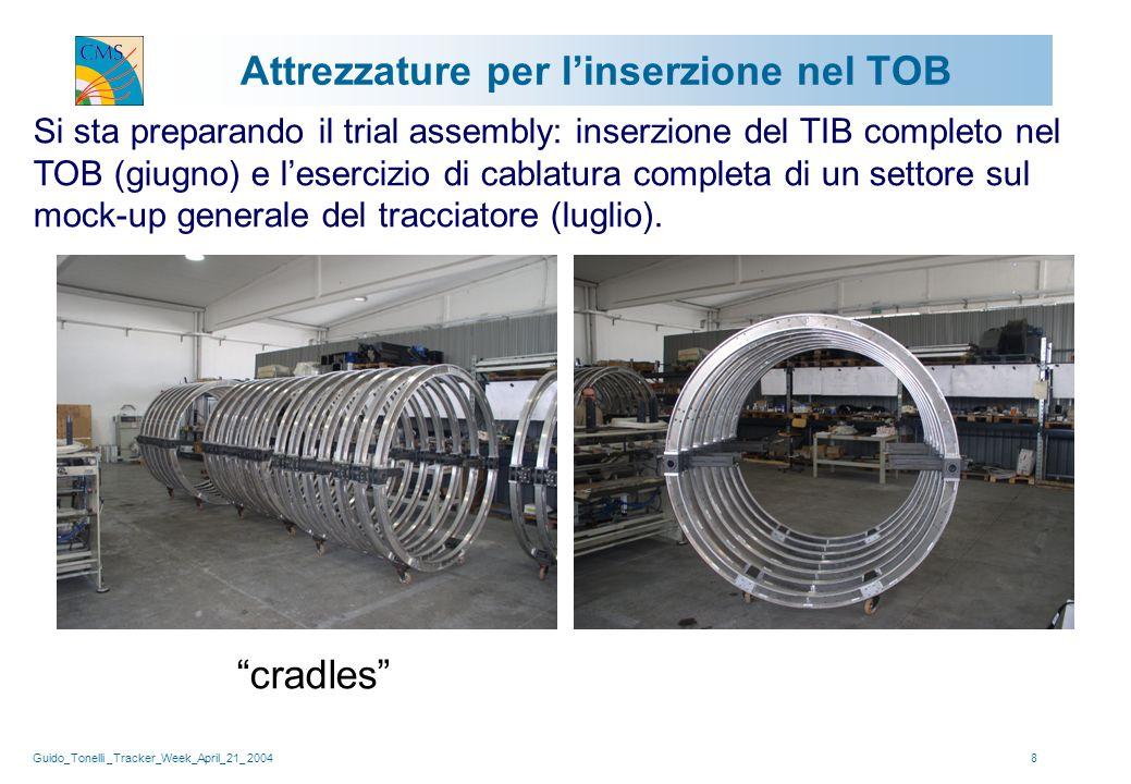Guido_Tonelli _Tracker_Week_April_21_ 20048 Attrezzature per l'inserzione nel TOB Si sta preparando il trial assembly: inserzione del TIB completo nel TOB (giugno) e l'esercizio di cablatura completa di un settore sul mock-up generale del tracciatore (luglio).