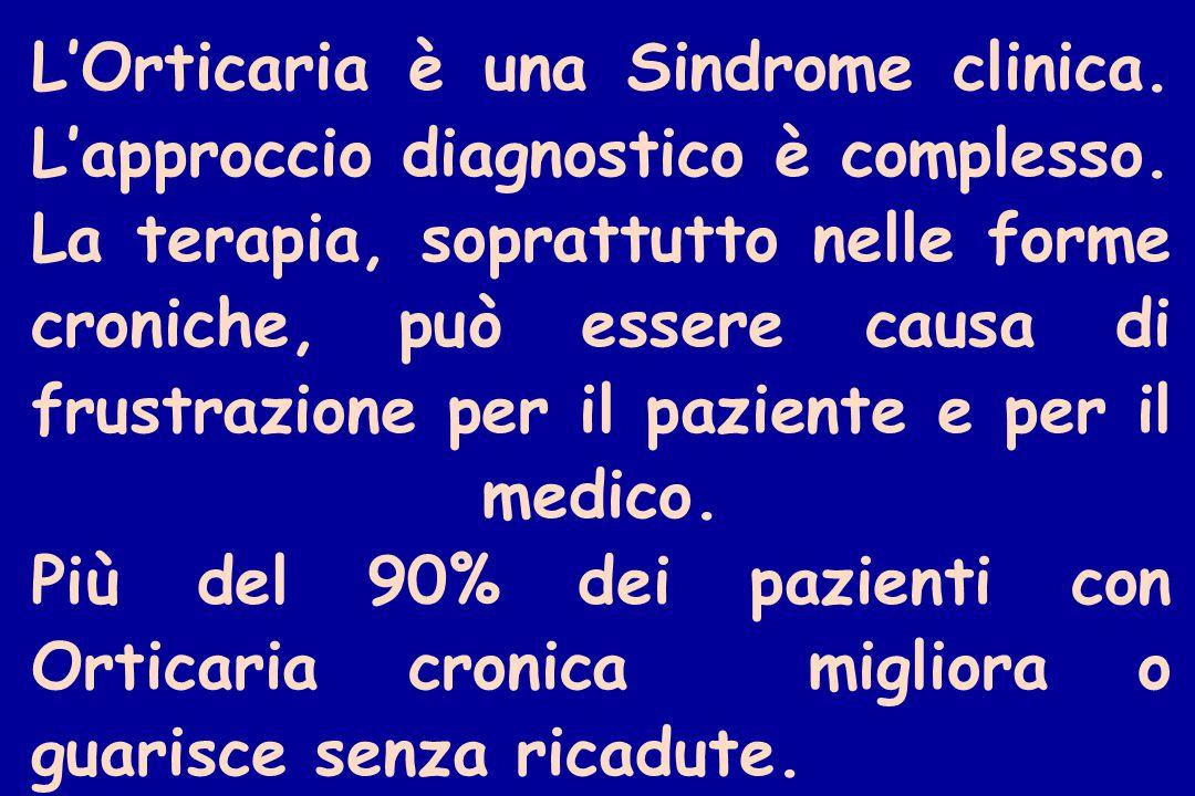 L'Orticaria è una Sindrome clinica. L'approccio diagnostico è complesso.
