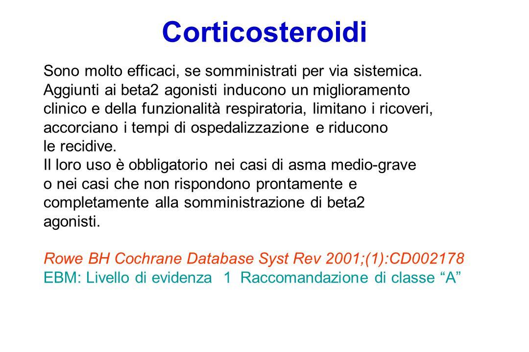 Corticosteroidi Sono molto efficaci, se somministrati per via sistemica.