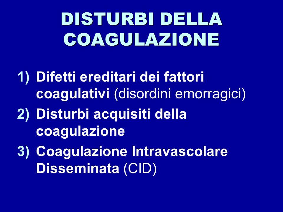 DISTURBI DELLA COAGULAZIONE 1)Difetti ereditari dei fattori coagulativi (disordini emorragici) 2)Disturbi acquisiti della coagulazione 3)Coagulazione Intravascolare Disseminata (CID)